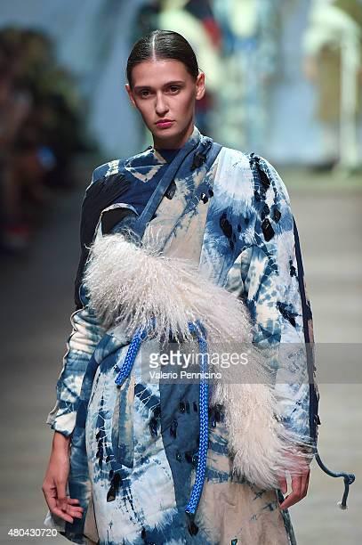 A model walks the runway during Elina Maattaneu fashion show as part of International Talent Support 2015 Samsung Galaxy Award Fashion Show on July...