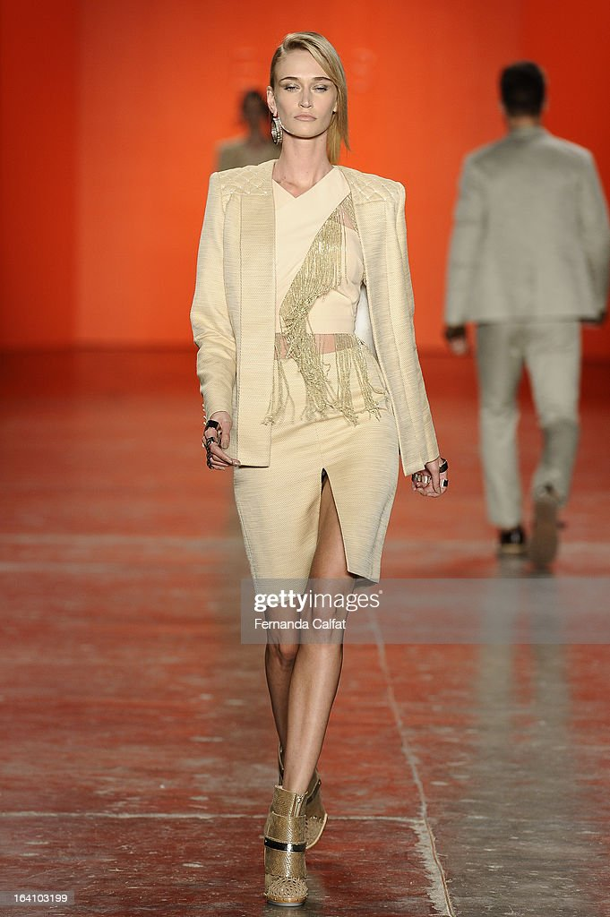 A model walks the runway during Ellus show during Sao Paulo Fashion Week Summer 2013/2014 on March 19, 2013 in Sao Paulo, Brazil.