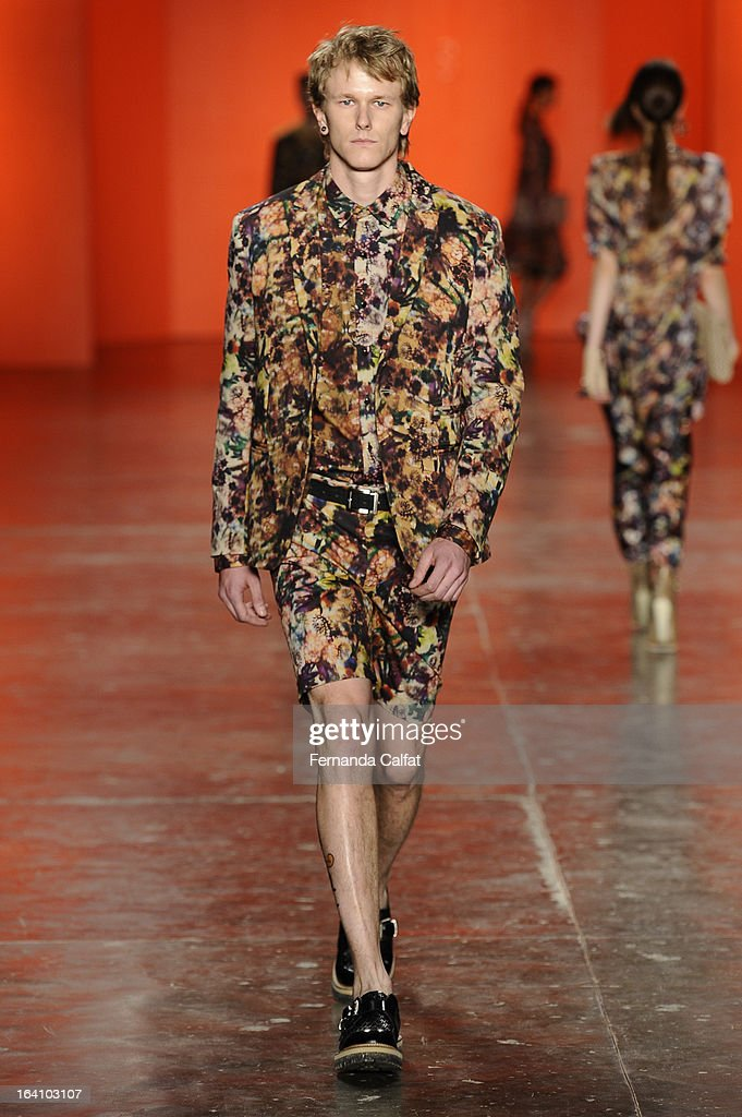 A model walks the runway during Ellus show - Sao Paulo Fashion Week Summer 2013/2014 on March 19, 2013 in Sao Paulo, Brazil.