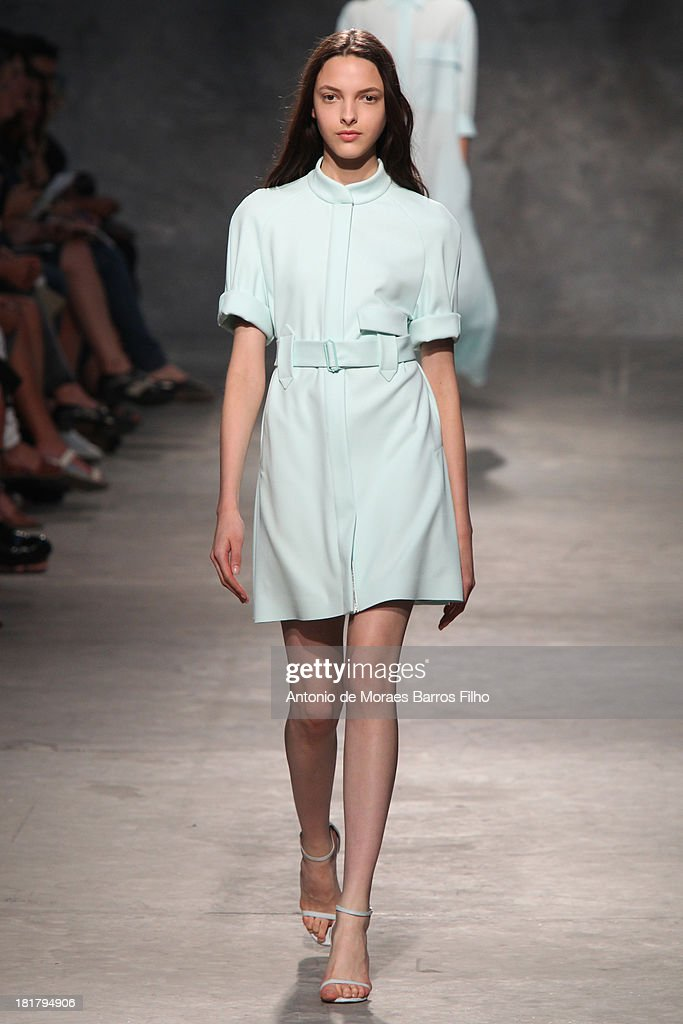 A model walks the runway during Felipe Oliveira Baptista show as part of the Paris Fashion Week Womenswear Spring/Summer 2014 on September 25, 2013 in Paris, France.