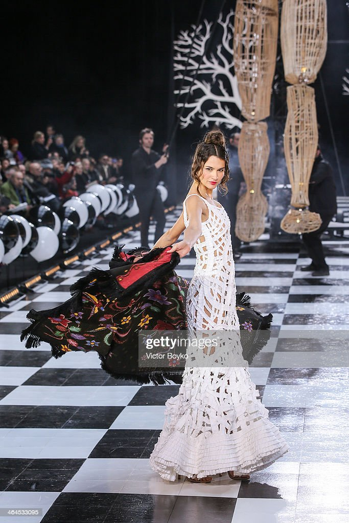 A model walks the runway during Franck Sorbier show as part of Paris Fashion Week Haute Couture Spring/Summer 2014 on January 22, 2014 in Paris, France.