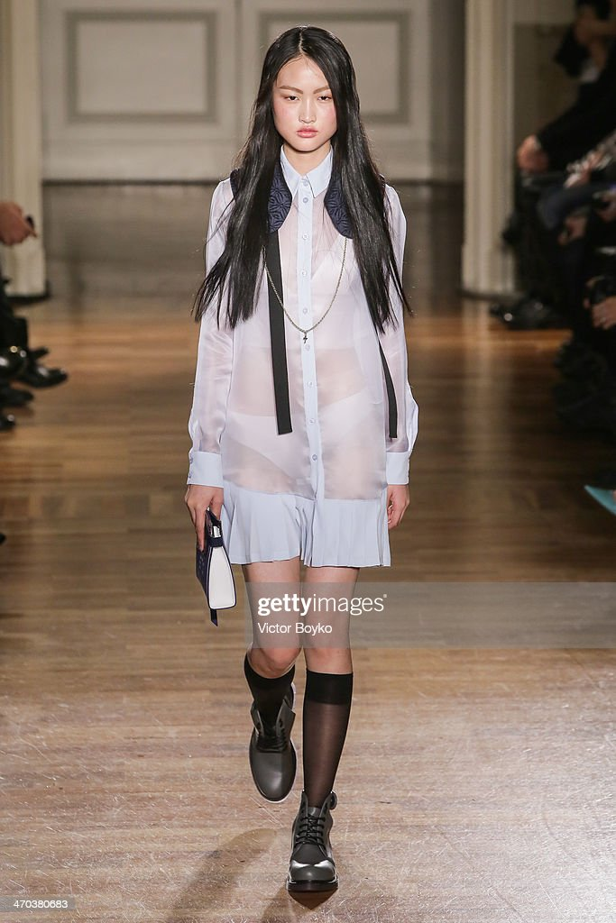 A model walks the runway during Frankie Morello show as part of Milan Fashion Week Womenswear Autumn/Winter 2014 on February 19, 2014 in Milan, Italy.