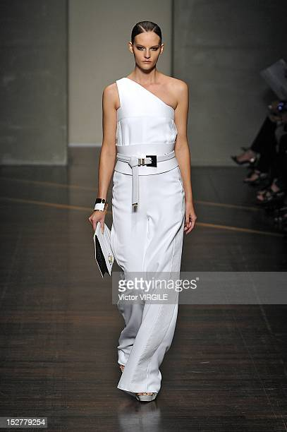 A model walks the runway during Gianfranco Ferre Fashion Show as part of Milan Fashion Week Womenswear S/S 2013 on September 24 2012 in Milan Italy