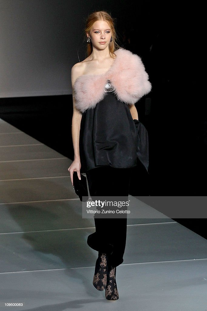 A model walks the runway during Giorgio Armani show as part of Milan Fashion Week Womenswear Autumn/Winter 2011 on February 28 2011 in Milan Italy