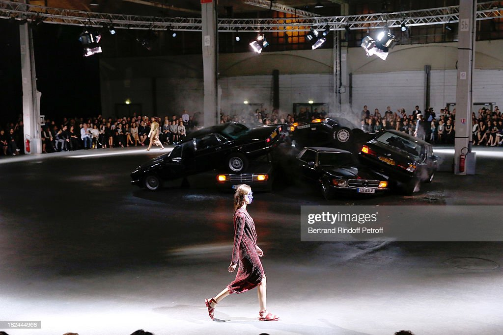 A model walks the runway during Givenchy show as part of the Paris Fashion Week Womenswear Spring/Summer 2014 held at 'la Halle Freyssinet' on September 29, 2013 in Paris, France.