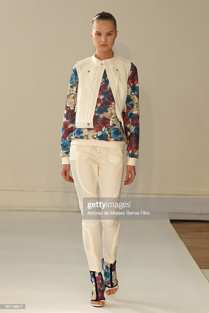 A model walks the runway during Ground Zero show as part of the Paris Fashion Week Womenswear Spring/Summer 2014 on September 24, 2013 in Paris, France.