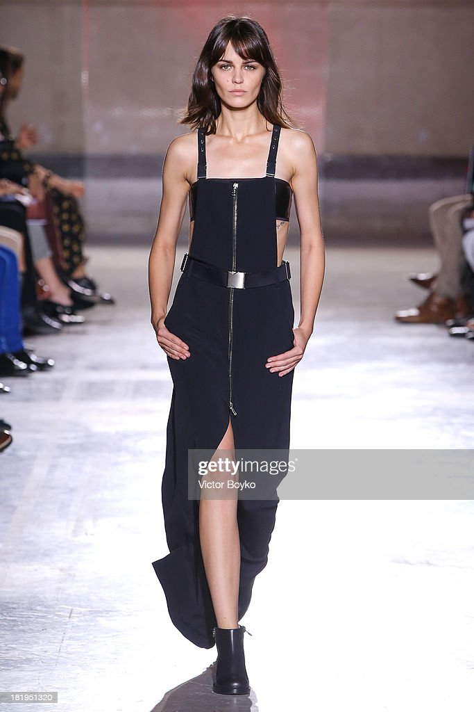 A model walks the runway during IRFE show as part of the Paris Fashion Week Womenswear Spring/Summer 2014 on September 26, 2013 in Paris, France.