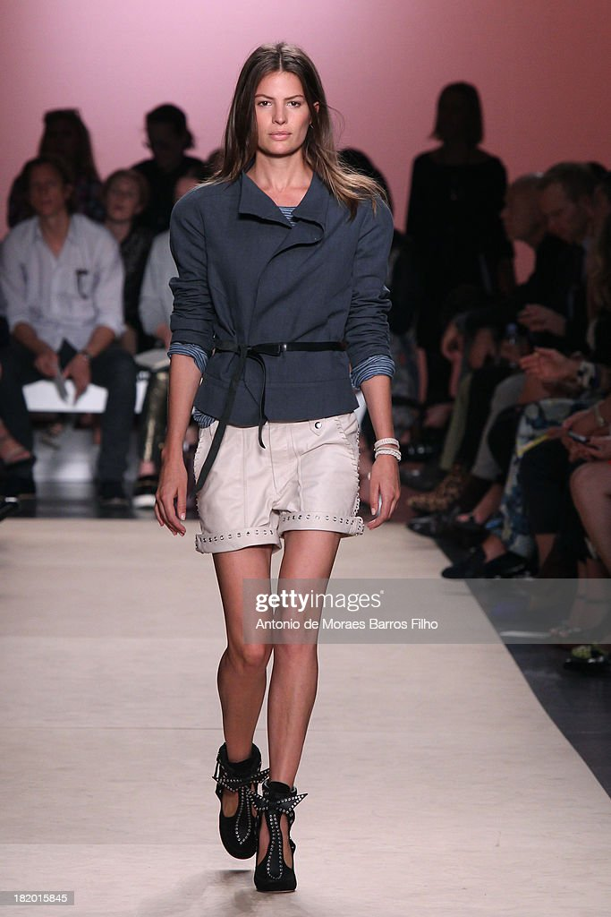 A model walks the runway during Isabel Marant show as part of the Paris Fashion Week Womenswear Spring/Summer 2014 on September 27 2013 in Paris...