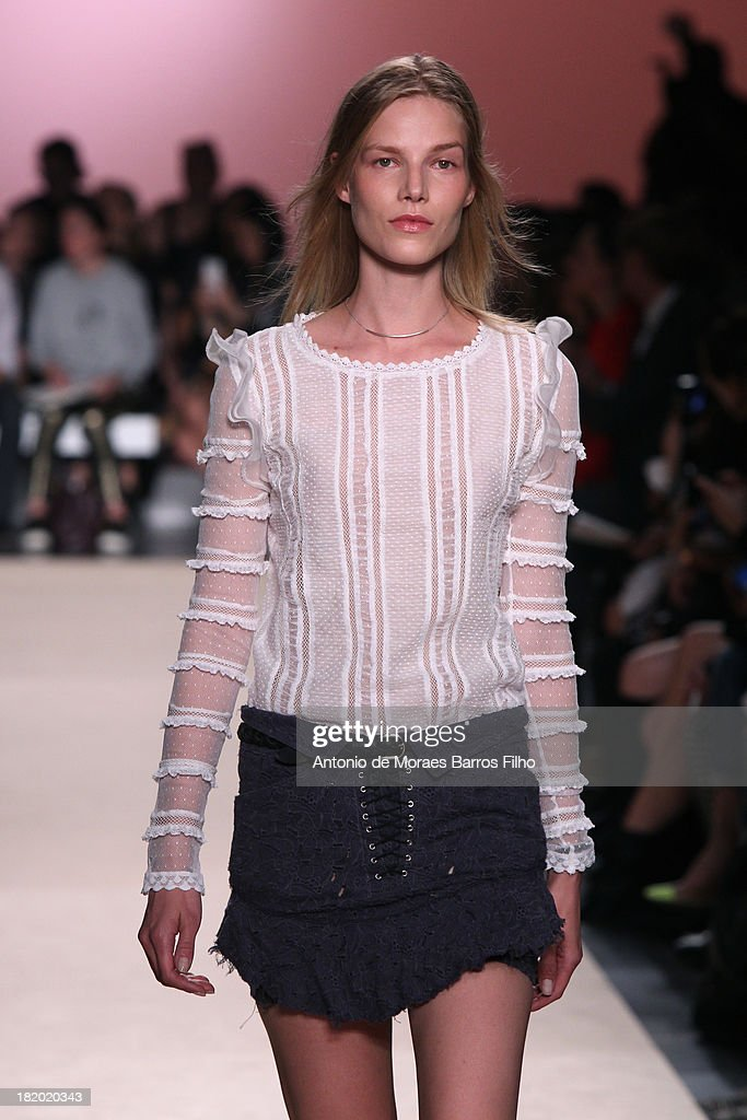 A model walks the runway during Isabel Marant show as part of the Paris Fashion Week Womenswear Spring/Summer 2014 on September 27, 2013 in Paris, France.