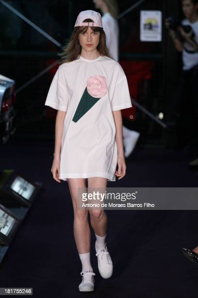 A model walks the runway during Jacquemus show as part of the Paris Fashion Week Womenswear Spring/Summer 2014 on September 24 2013 in Paris France