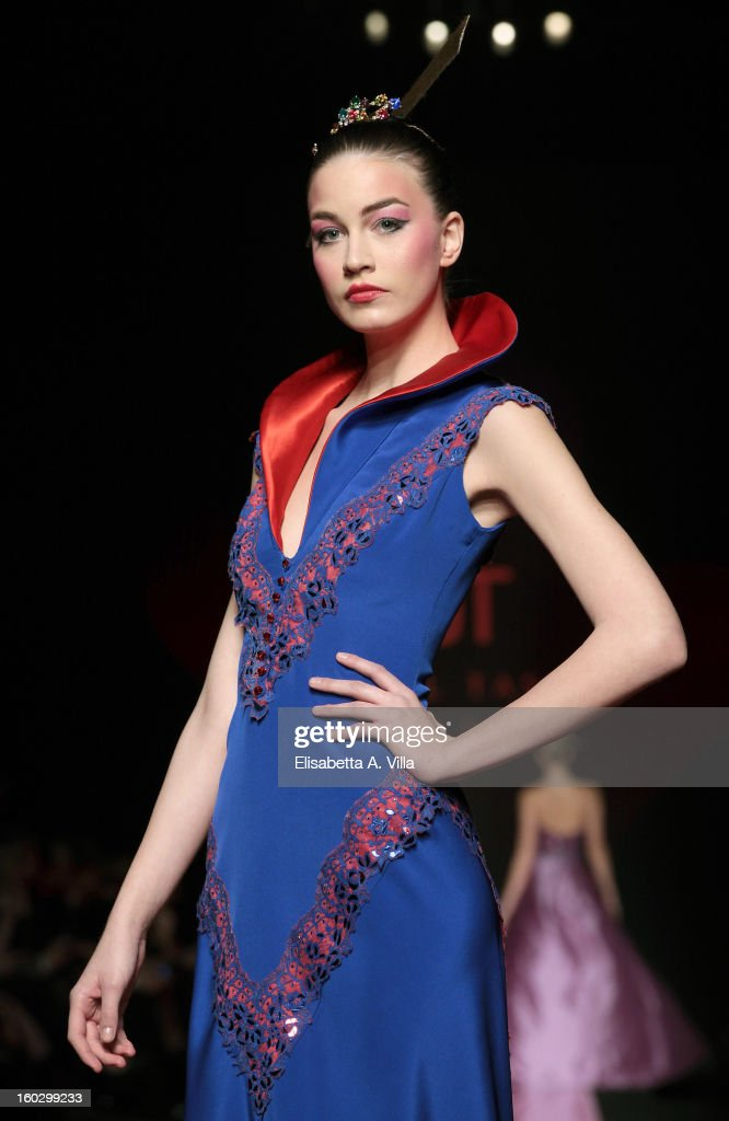 A model walks the runway during Jamal Taslaq S/S 2013 Haute Couture colletion fashion show as part of AltaRoma AltaModa Fashion Week at Santo Spirito In Sassia on January 28, 2013 in Rome, Italy.
