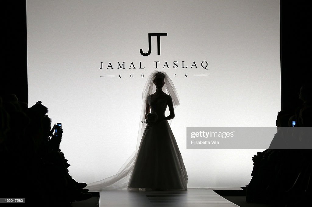 A model walks the runway during Jamal Taslaq S/S 2014 Haute Couture colletion fashion show as part of AltaRoma AltaModa Fashion Week at Santo Spirito In Sassia on January 25, 2014 in Rome, Italy.