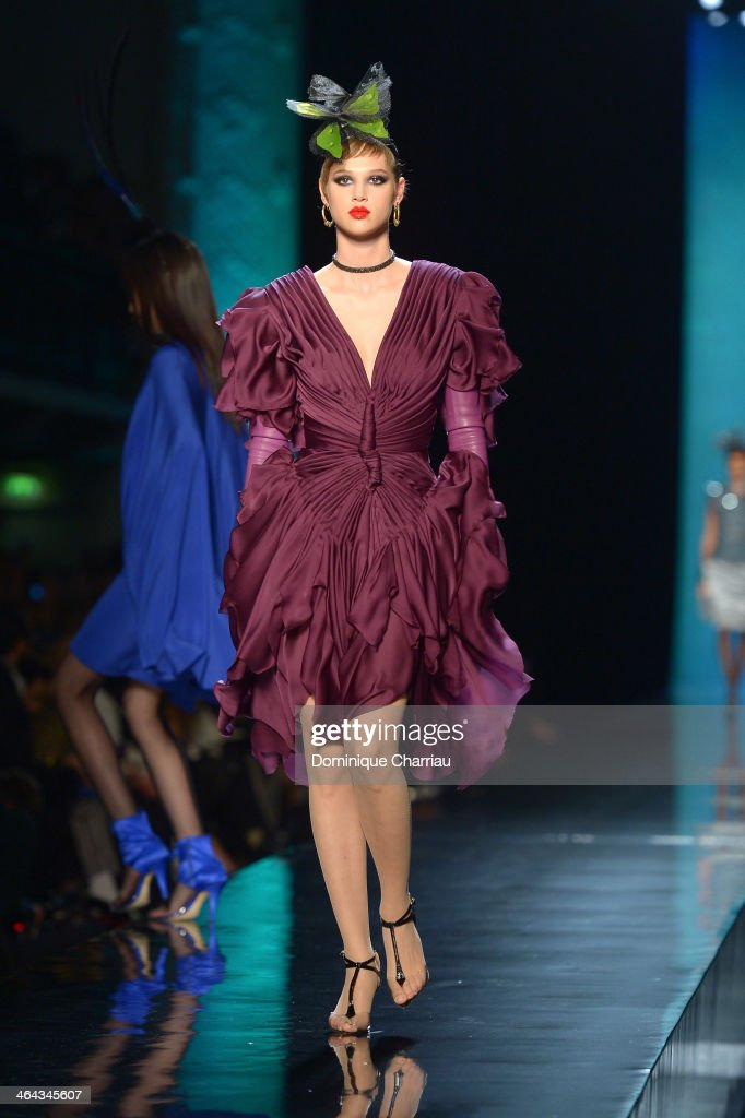 A model walks the runway during Jean Paul Gaultier show as part of Paris Fashion Week Haute Couture Spring/Summer 2014 on January 22, 2014 in Paris, France.
