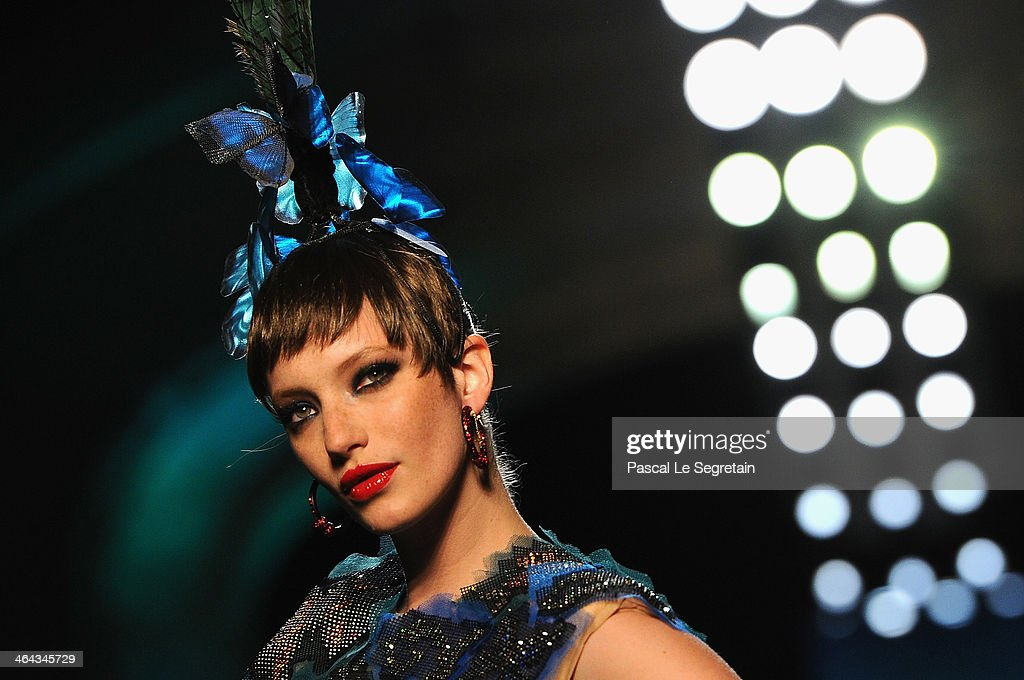 A model walks the runway during Jean Paul Gaultier show as part of Paris Fashion Week Haute Couture Spring/Summer 2014 on January 22 2014 in Paris...