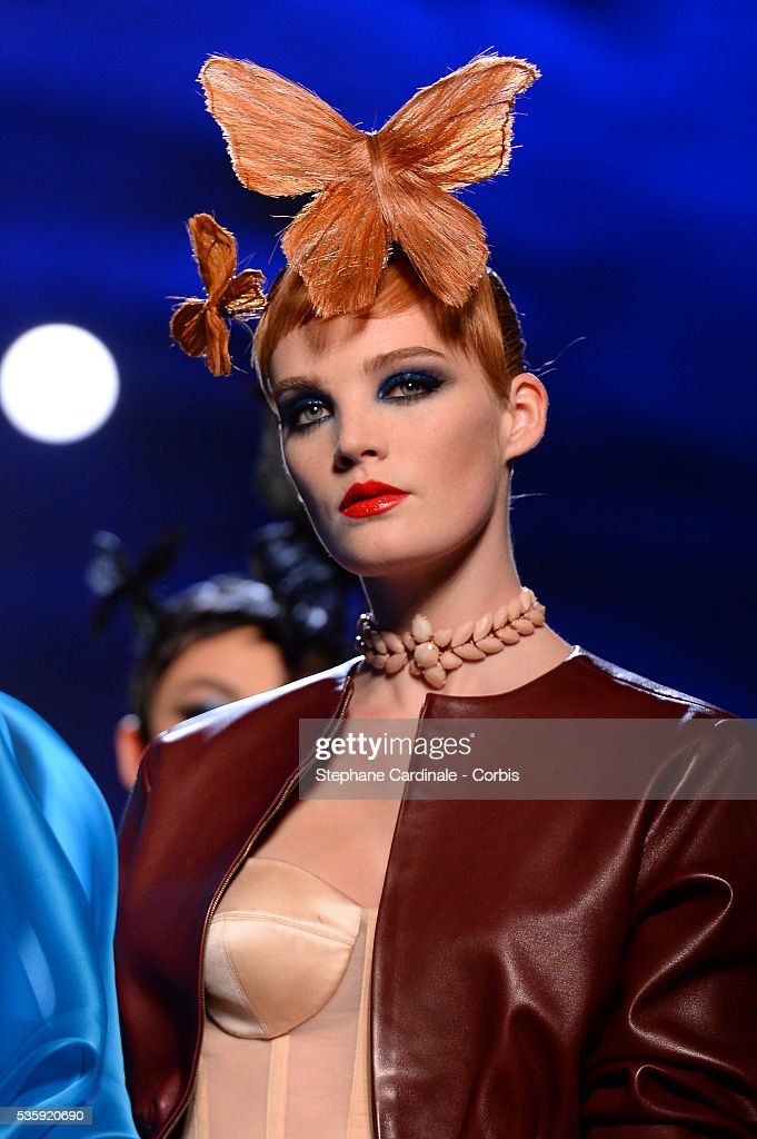 A model walks the runway during Jean Paul Gaultier show as part of Paris Fashion Week Haute Couture Spring/Summer 2014, in Paris.