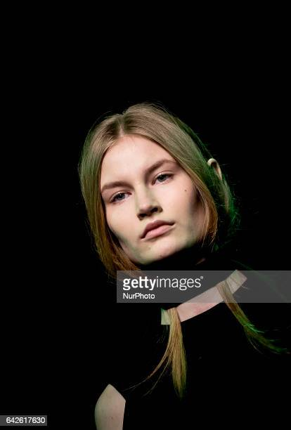 Model walks the runway during Juan Vidal show during MercedesBenz Madrid Fashion Week Autumn/Winter at IFEMA on February 17 2017 in Madrid Spain