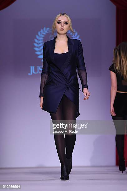 A model walks the runway during Just Drew fashion week at Gotham Hall on February 14 2016 in New York City