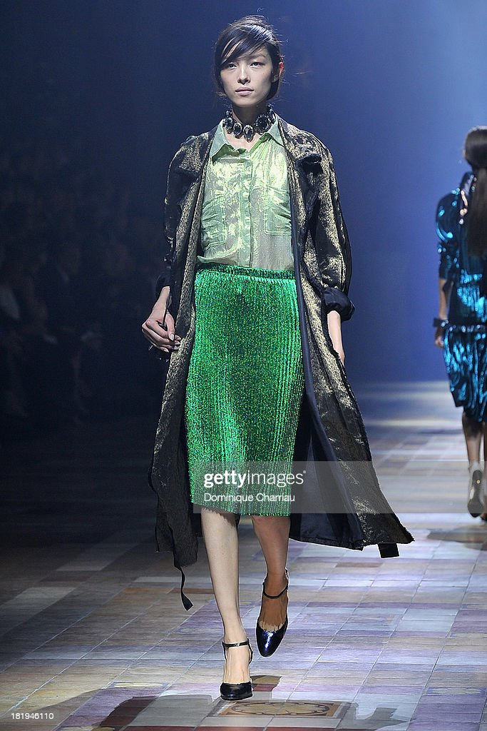A model walks the runway during Lanvin show as part of the Paris Fashion Week Womenswear Spring/Summer 2014 on September 26 2013 in Paris France