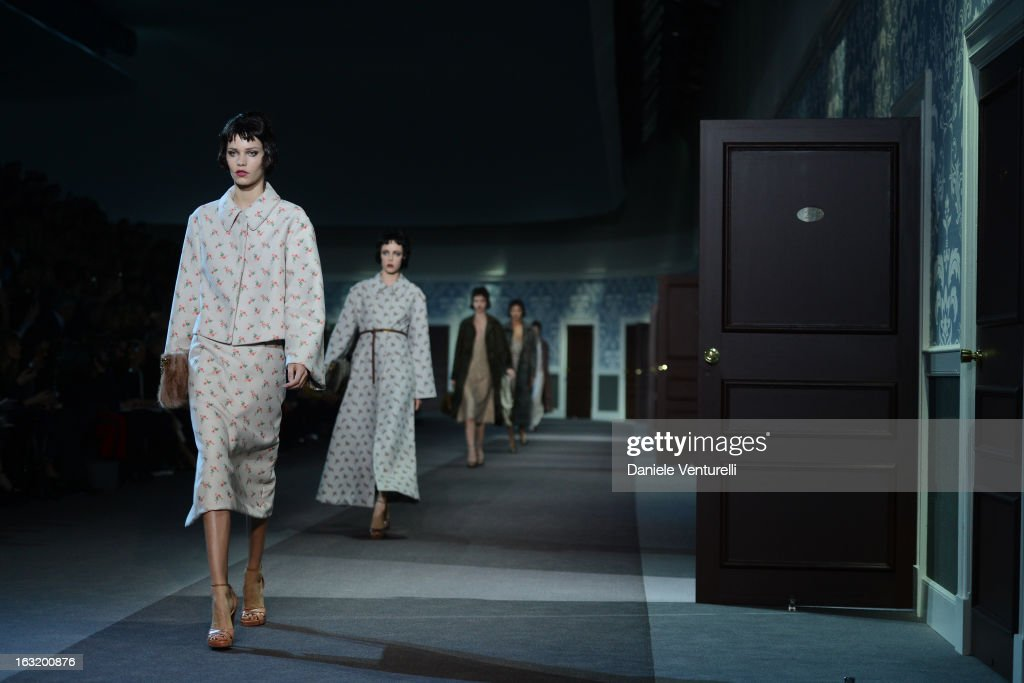 A model walks the runway during Louis Vuitton Fall/Winter 2013 Ready-to-Wear show as part of Paris Fashion Week on March 6, 2013 in Paris, France.