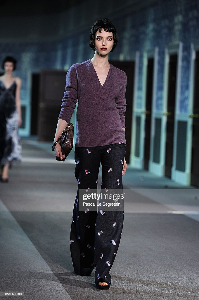 Model walks the runway during Louis Vuitton Fall/Winter 2013 Ready-to-Wear show as part of Paris Fashion Week on March 6, 2013 in Paris, France.