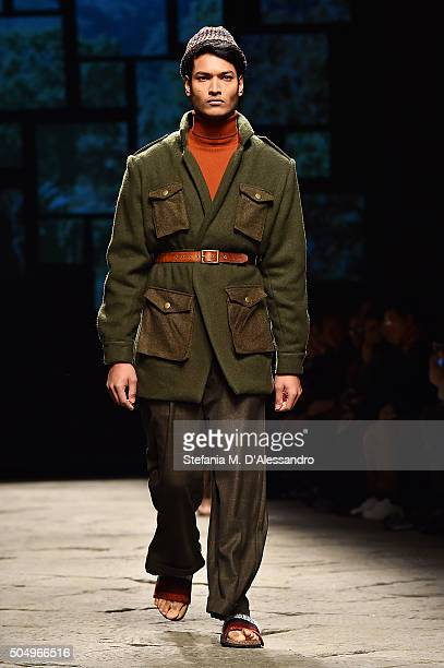 A model walks the runway during Lukhanyo Mdinigi for Nicholas Coutts as part of 'Generation Africa' Fashion Show on January 14 2016 in Florence Italy