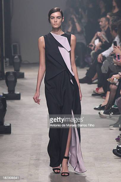 A model walks the runway during Maison Rabih Kayrouz show as part of the Paris Fashion Week Womenswear Spring/Summer 2014 on September 29 2013 in...