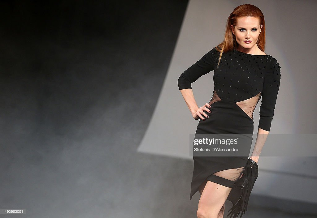 A model walks the runway during Mangano Fashion Show on May 26, 2014 in Milan, Italy.