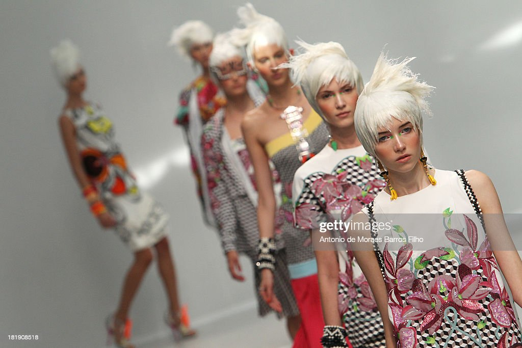 A model walks the runway during Manish Arora show as part of the Paris Fashion Week Womenswear Spring/Summer 2014 on September 26, 2013 in Paris, France.