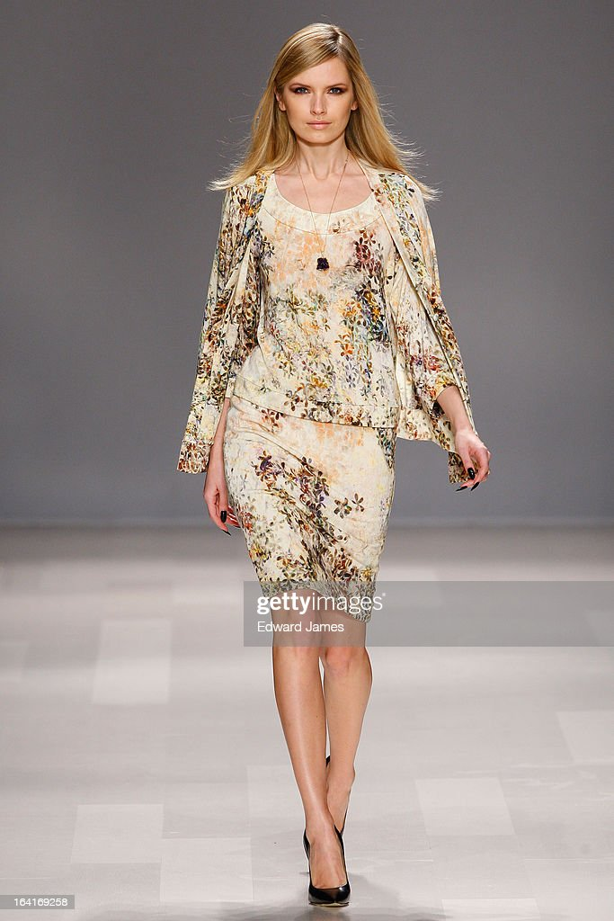 A model walks the runway during Matis by Lucian Matis at David Pecaut Square on March 20, 2013 in Toronto, Canada.