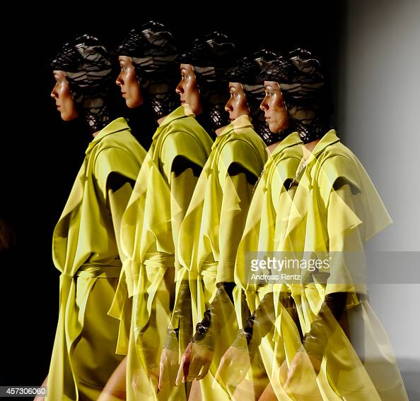 A model walks the runway during Mercedes Benz Fashion Week Istanbul SS15 at Antrepo 3 on October 16 2014 in Istanbul Turkey