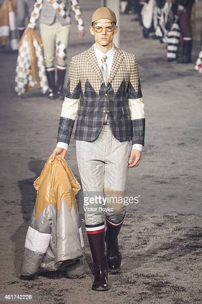 A model walks the runway during Moncler show as part of Milan Menswear Fashion Week Fall Winter 2015/2016 on January 18 2015 in Milan Italy