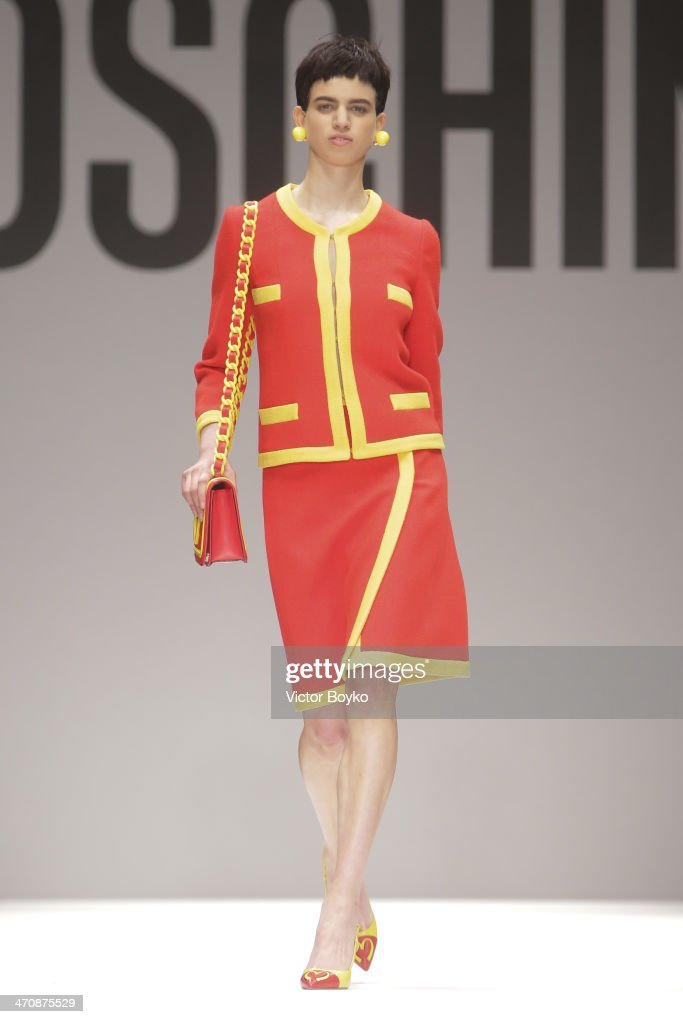 A model walks the runway during Moschino show as part of Milan Fashion Week Womenswear Autumn/Winter 2014 on February 20, 2014 in Milan, Italy.