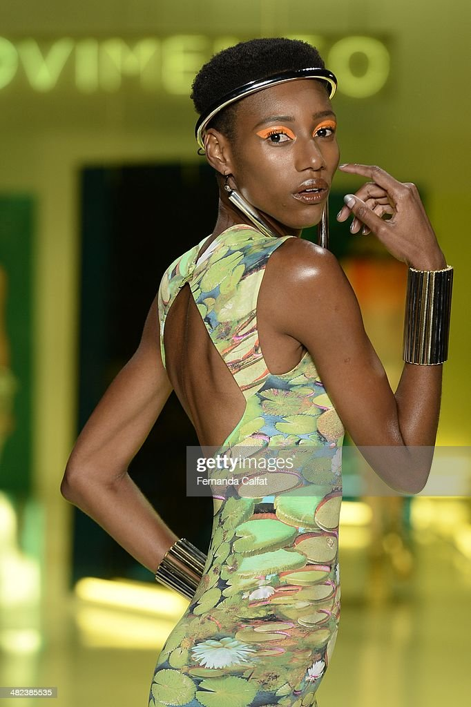 A model walks the runway during Movimento show at Sao Paulo Fashion Week Summer 2014/2015 at Parque Candido Portinari on April 3, 2014 in Sao Paulo, Brazil.