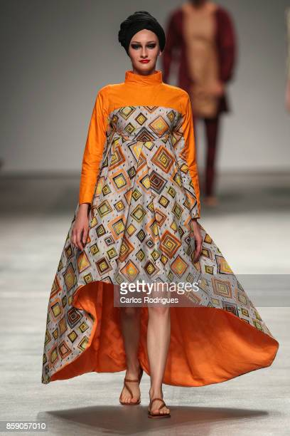 Model walks the runway during Nadir Tati runway show on day 3 of ModaLisboa 2017 on October 8 2017 in Lisboa CDP Portugal
