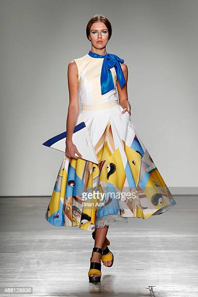 A model walks the runway during Nolcha Shows During New York Fashion Week Spring/Summer 2016 Collections Charles And Ron at Pier 59 on September 13...
