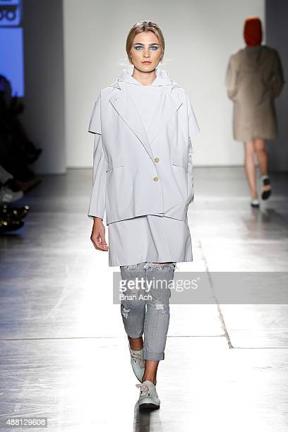 A model walks the runway during Nolcha Shows During New York Fashion Week Spring/Summer 2016 Collections Jungwon at Pier 59 on September 13 2015 in...