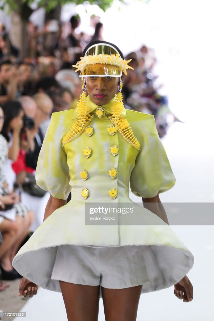 A model walks the runway during On Aura Tout Vu show as part of Paris Fashion Week Haute-Couture Fall/Winter 2013-2014 at on July 1, 2013 in Paris, France.