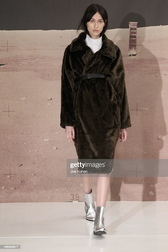 A model walks the runway during Organic By John Patrick on February 5, 2014 in New York City.