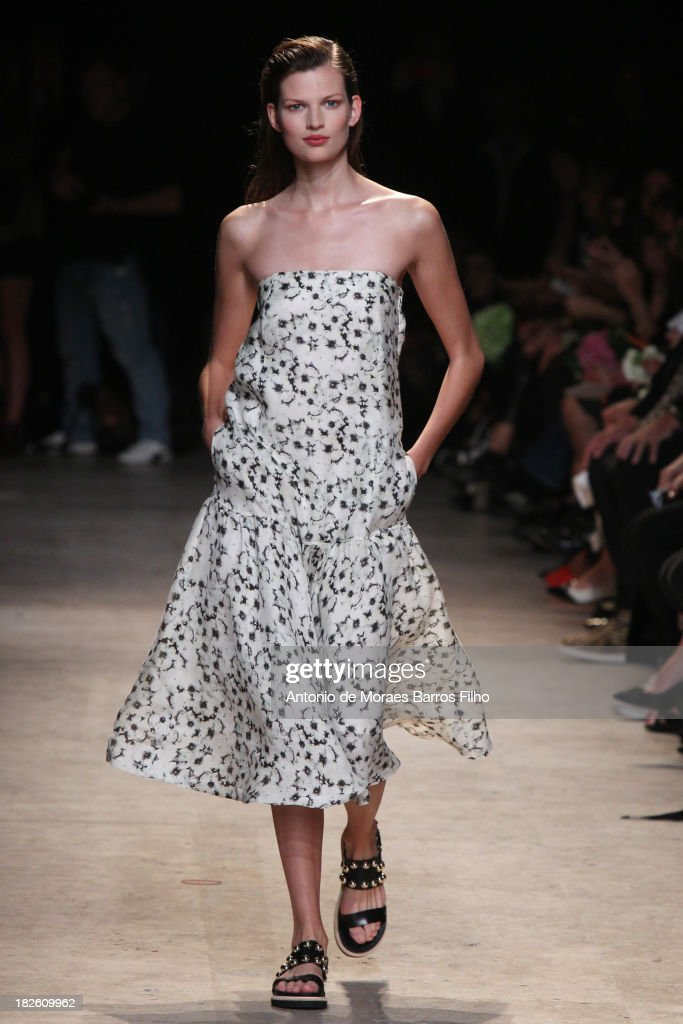 A model walks the runway during Paul & Joe show as part of the Paris Fashion Week Womenswear Spring/Summer 2014 on October 1, 2013 in Paris, France.