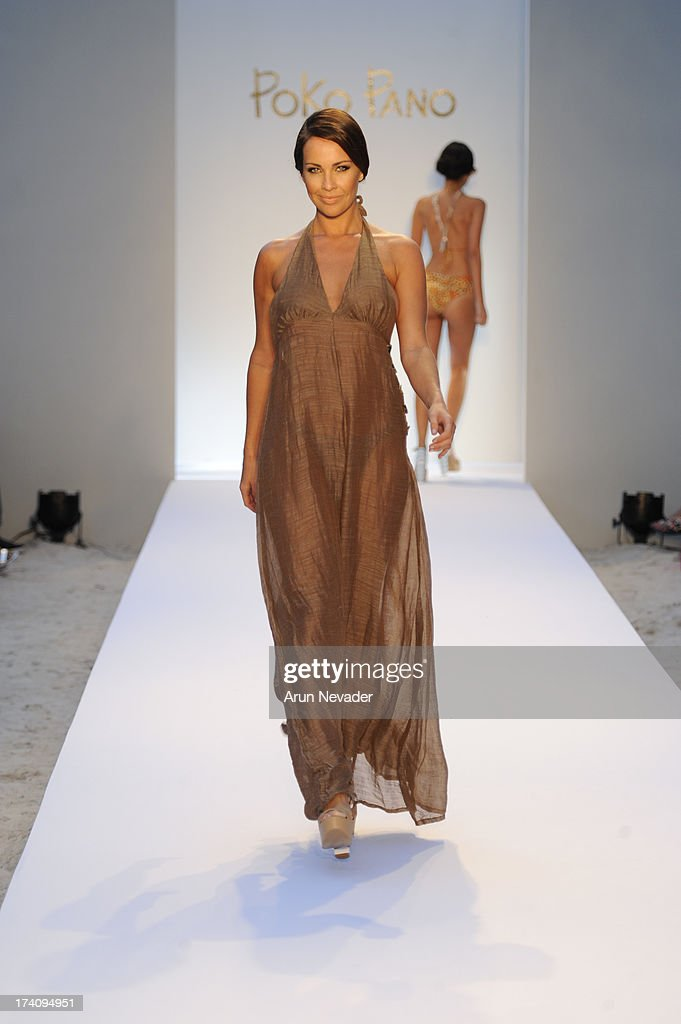 Model walks the runway during Poko Pano By Poala Robba At Mercedes-Benz Fashion Week Swim 2014 - Runway at The Raleigh Hotel on July 19, 2013 in Miami, Florida.
