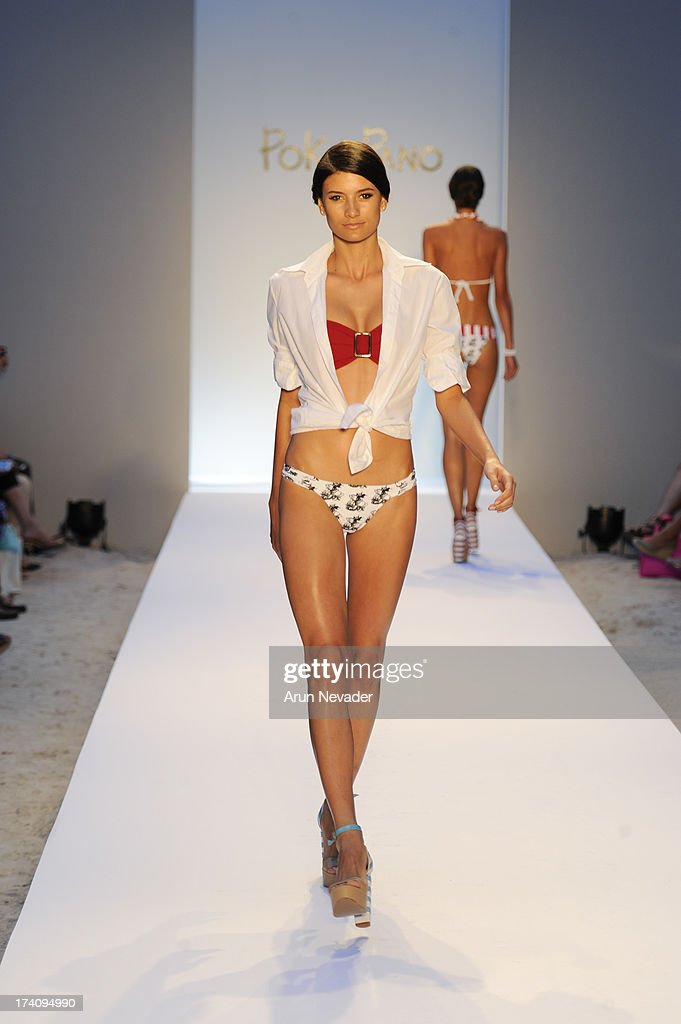 A model walks the runway during Poko Pano By Poala Robba At Mercedes-Benz Fashion Week Swim 2014 - Runway at The Raleigh Hotel on July 19, 2013 in Miami, Florida.