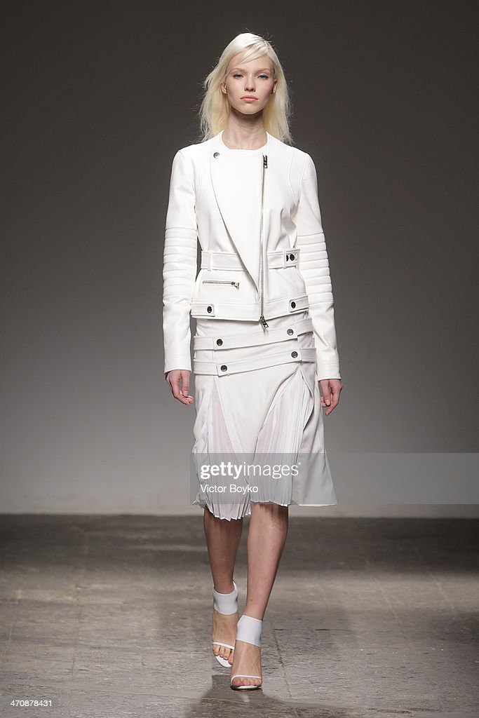 A model walks the runway during Ports 1961 show as part of Milan Fashion Week Womenswear Autumn/Winter 2014 on February 20, 2014 in Milan, Italy.