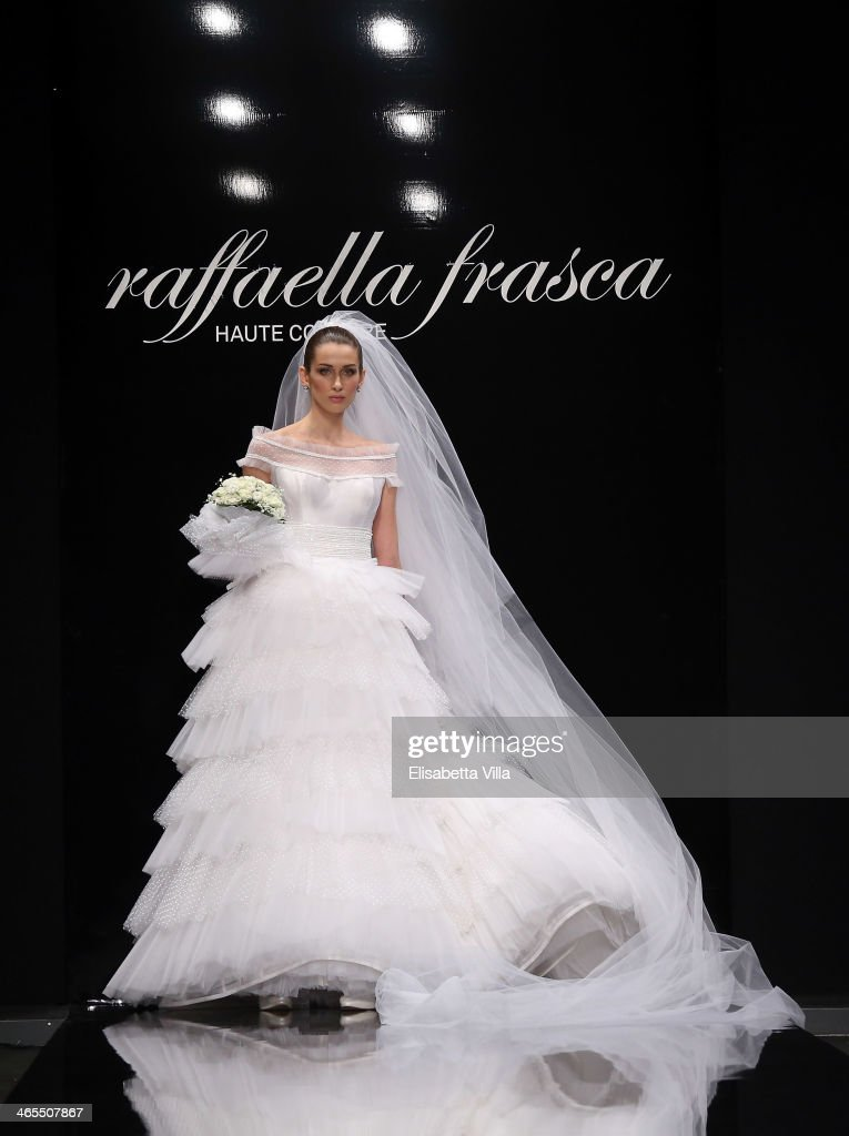 A model walks the runway during Raffaella Frasca S/S 2014 Italian Haute Couture colletion fashion show as part of AltaRoma AltaModa Fashion Week at Santo Spirito In Sassia on January 27, 2014 in Rome, Italy.