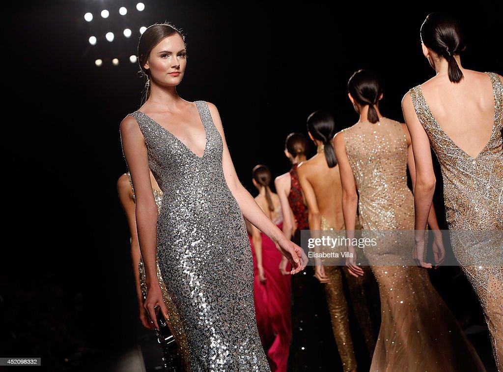 A model walks the runway during Rani Zakhem F/W 20142015 International Haute Couture colletion fashion show as part of AltaRoma AltaModa Fashion Week...