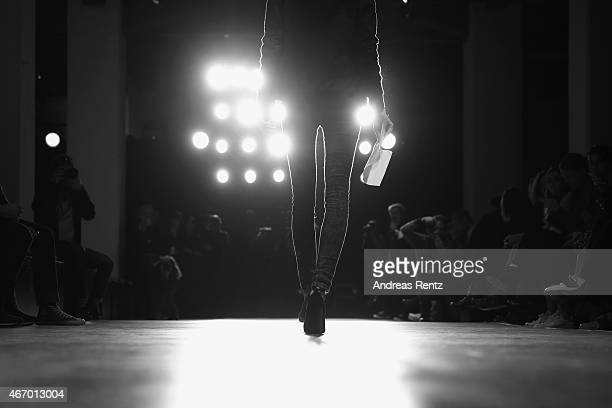 A model walks the runway during rehearsals during Mercedes Benz Fashion Week Istanbul FW15 on March 19 2015 in Istanbul Turkey