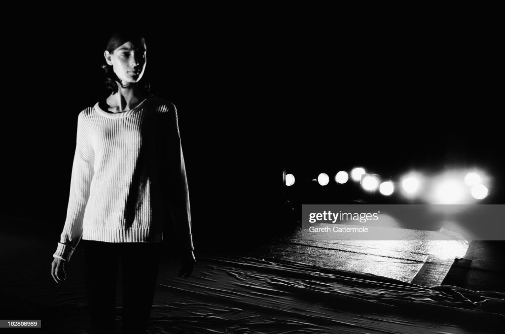 A model walks the runway during rehearsals for the Rochas Fall/Winter 2013 Ready-to-Wear show as part of Paris Fashion Week on February 27, 2013 in Paris, France.