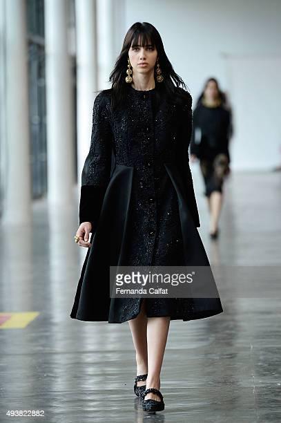 A model walks the runway during Reinaldo Lourenco fashion show during Sao Paulo Fashion Week Winter 2016 on October 21 2015 in Sao Paulo Brazil