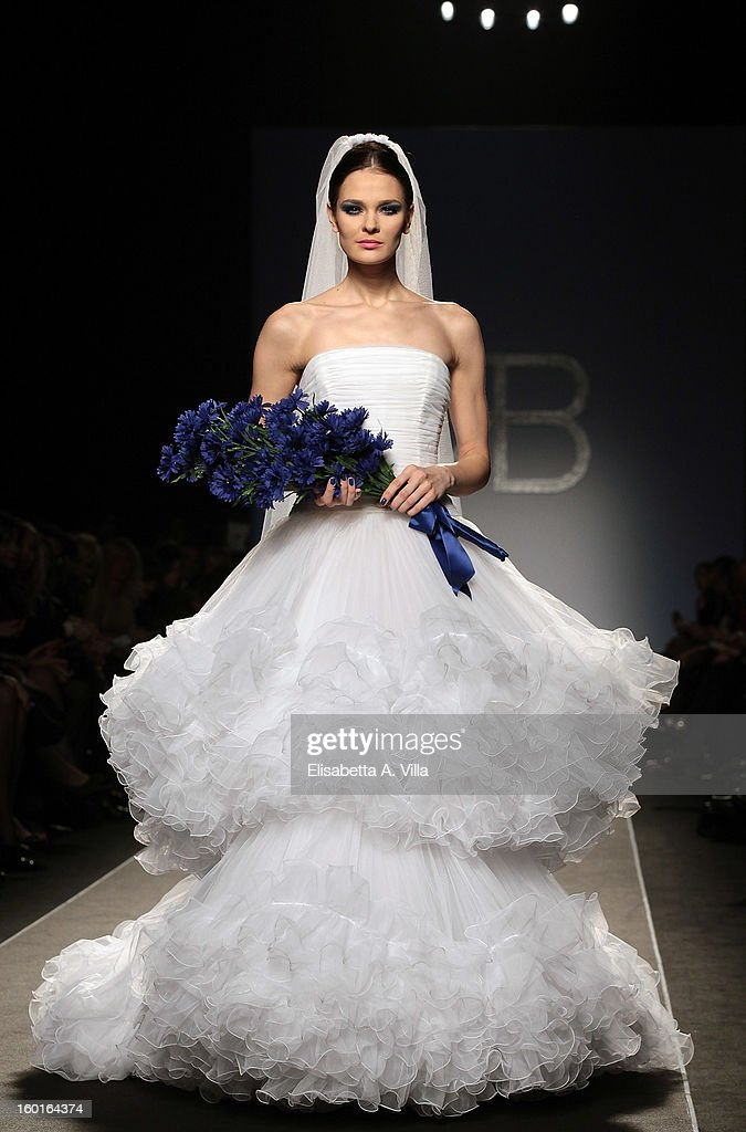 A model walks the runway during Renato Balestra S/S 2013 Italian Haute Couture colletion fashion show as part of AltaRoma AltaModa Fashion Week at Santo Spirito In Sassia on January 27, 2013 in Rome, Italy.