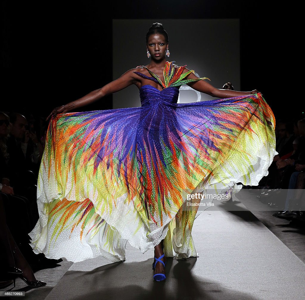 A model walks the runway during Renato Balestra S/S 2014 Italian Haute Couture colletion fashion show as part of AltaRoma AltaModa Fashion Week at...