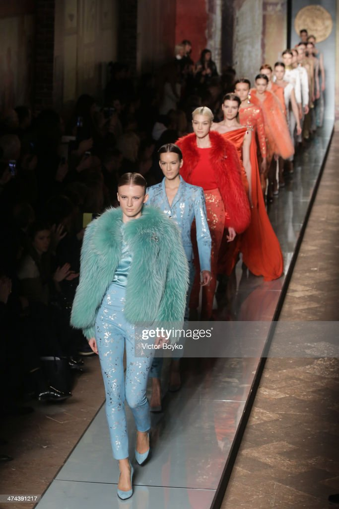 A model walks the runway during Roccobarocco show as part of Milan Fashion Week Womenswear Autumn/Winter 2014 on February 23, 2014 in Milan, Italy.